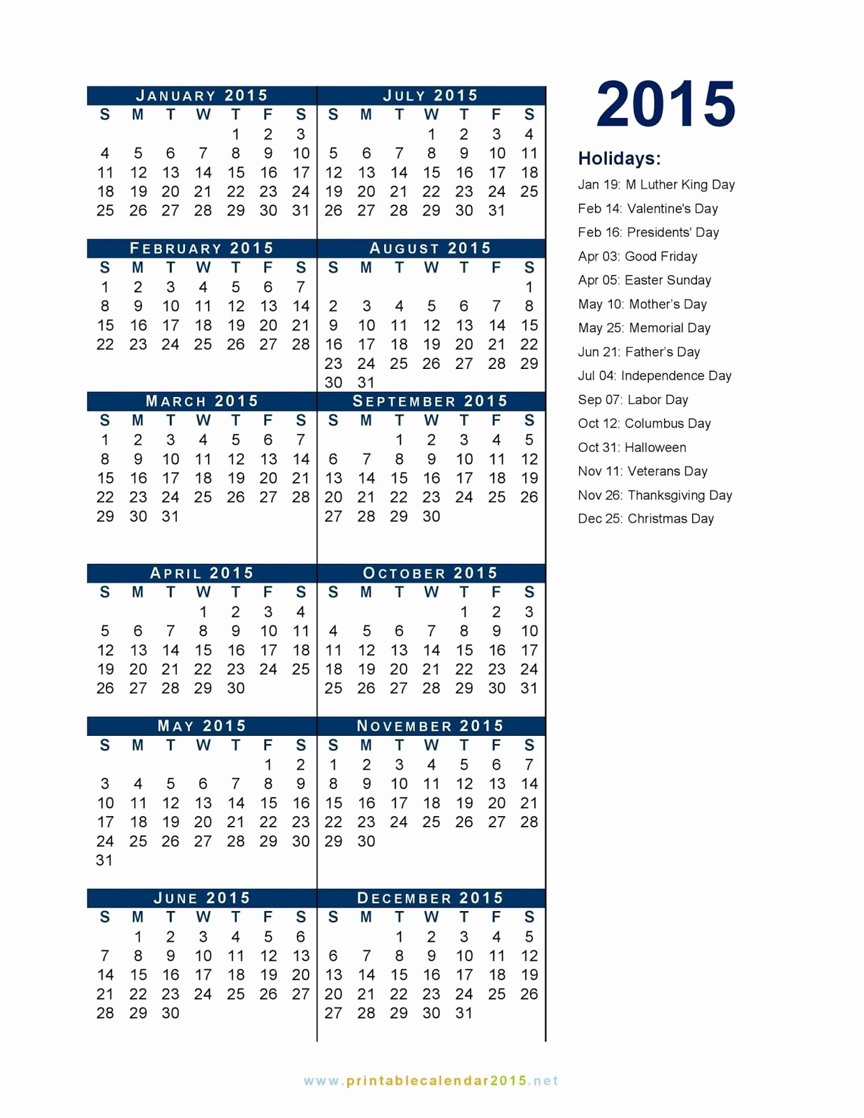 Calendar 2015 Printable with Holidays Unique Iupui Holiday List 2015