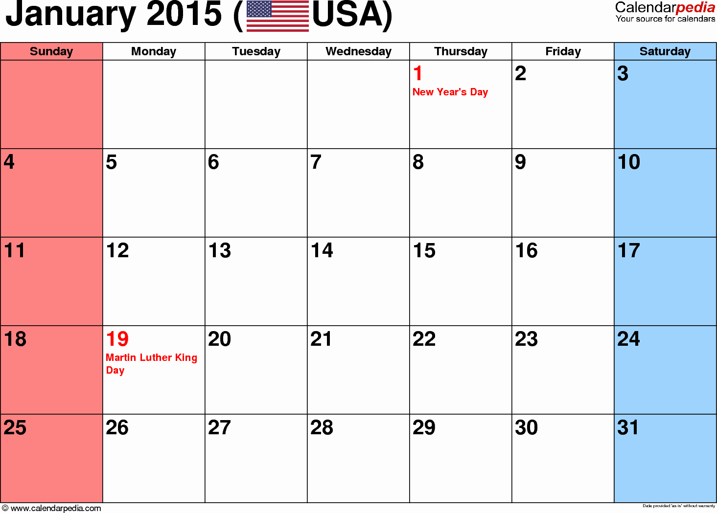Calendar 2015 Printable with Holidays Unique January 2015 Calendars for Word Excel & Pdf