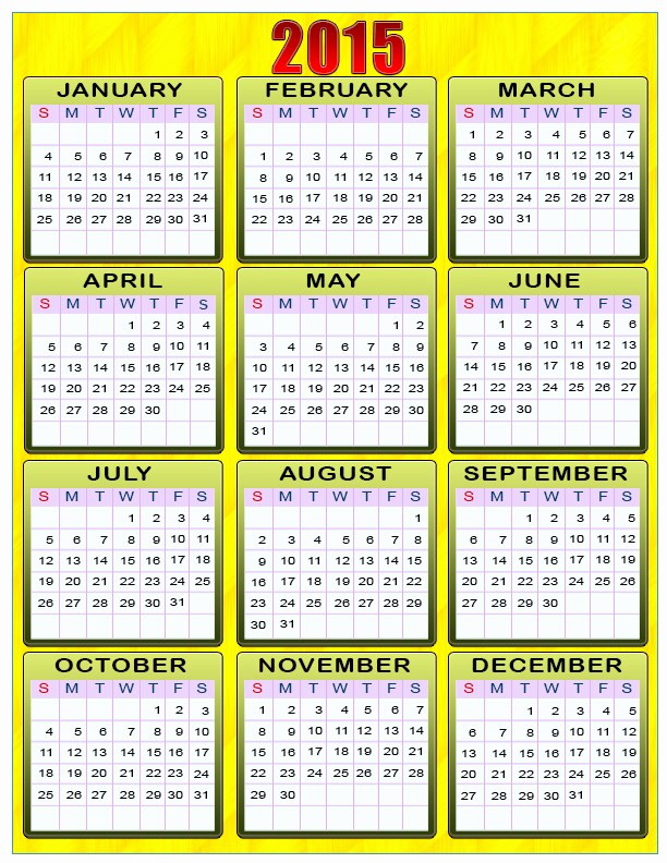 Calendar 2015 Printable with Holidays Unique Printable Calendars for New Year