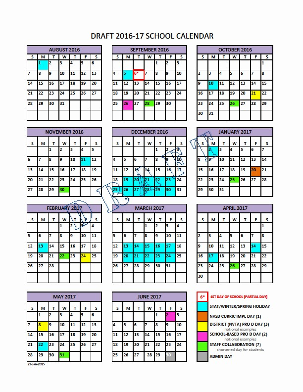 Calendar 2016-17 Template Awesome School Calendar Steering Group north Vancouver School