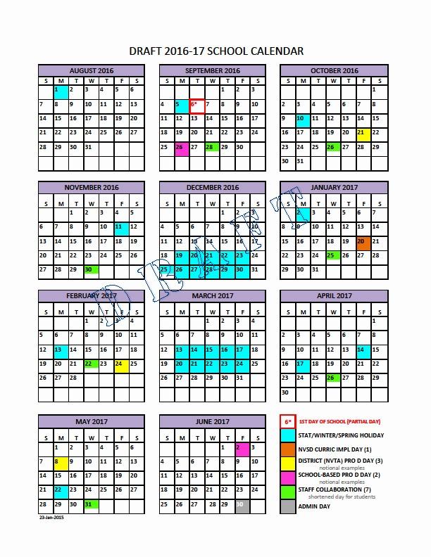Calendar 2016-17 Template Awesome School Calendar Steering Group north Vancouver School