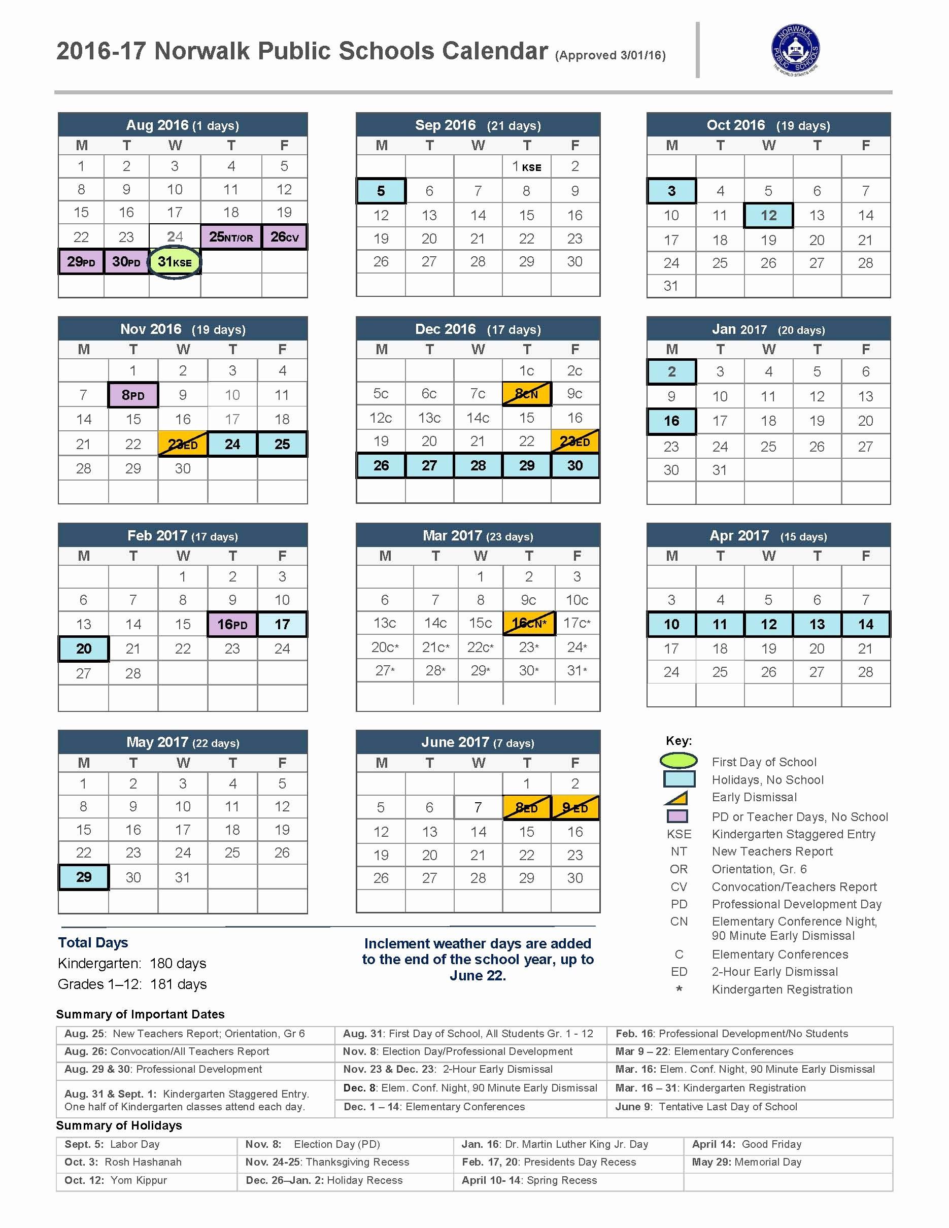 Calendar 2016-17 Template Beautiful 2016 17 School Calendar norwalk Public Schools