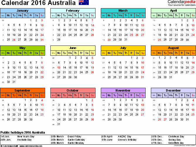 Calendar 2016-17 Template Beautiful Australia Calendar 2016 Free Printable Pdf Templates
