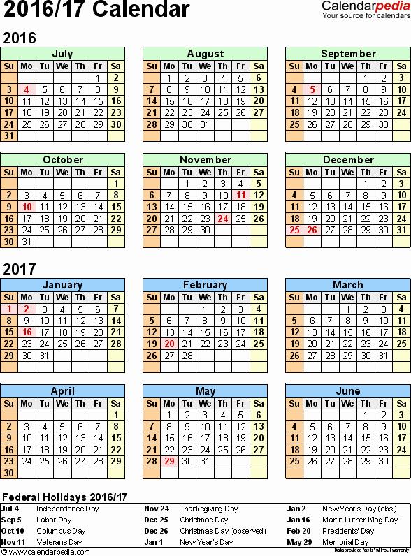 Calendar 2016-17 Template Beautiful Split Year Calendar 2016 17 July to June Pdf Templates