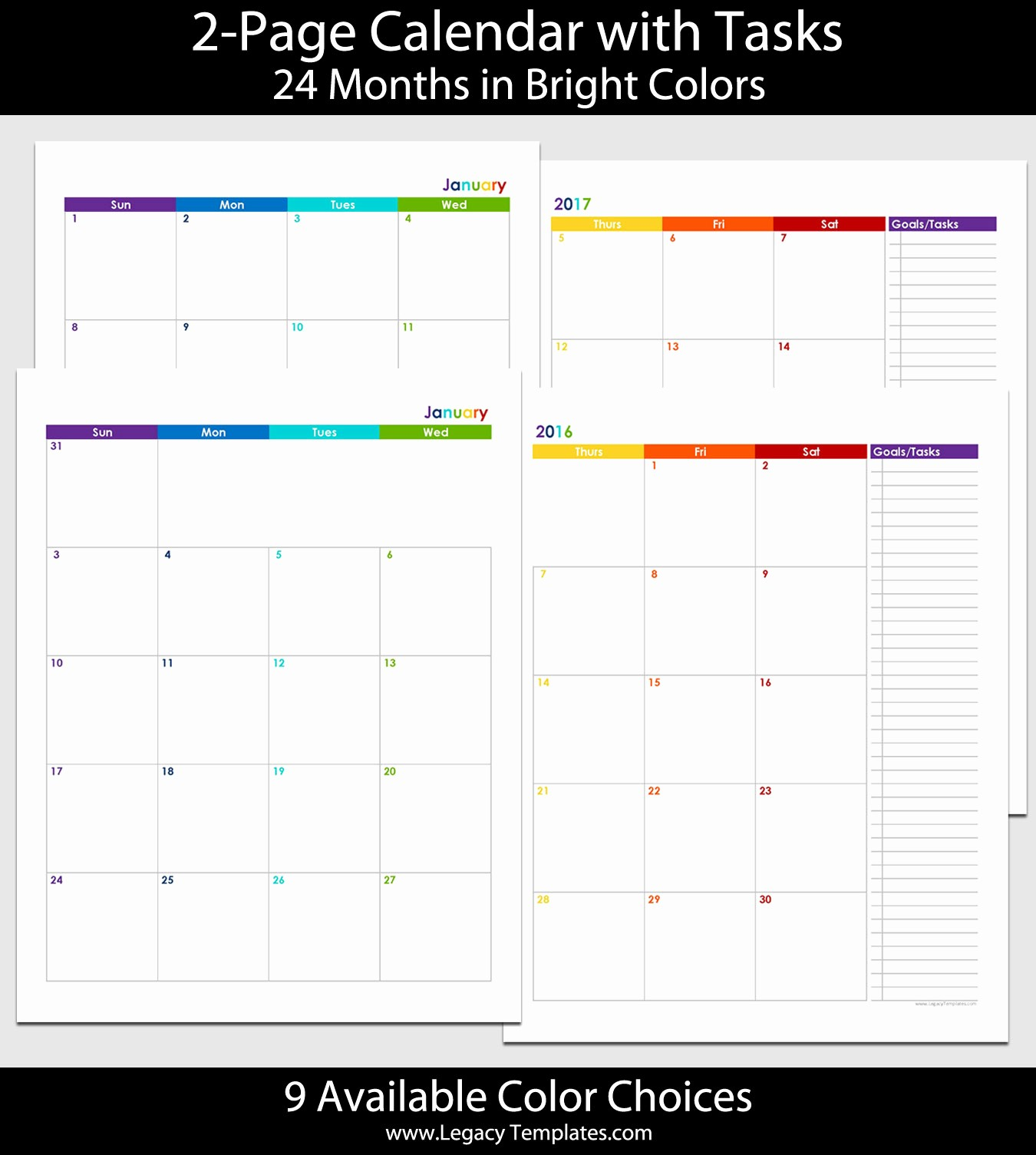 Calendar 2016-17 Template Best Of 2016 & 2017 24 Month 2 Page Calendar – 8 1 2″ X 11
