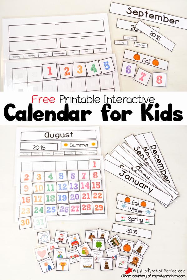 Calendar 2016-17 Template Elegant Cute Free Printable Calendar for Circle Time with Kids