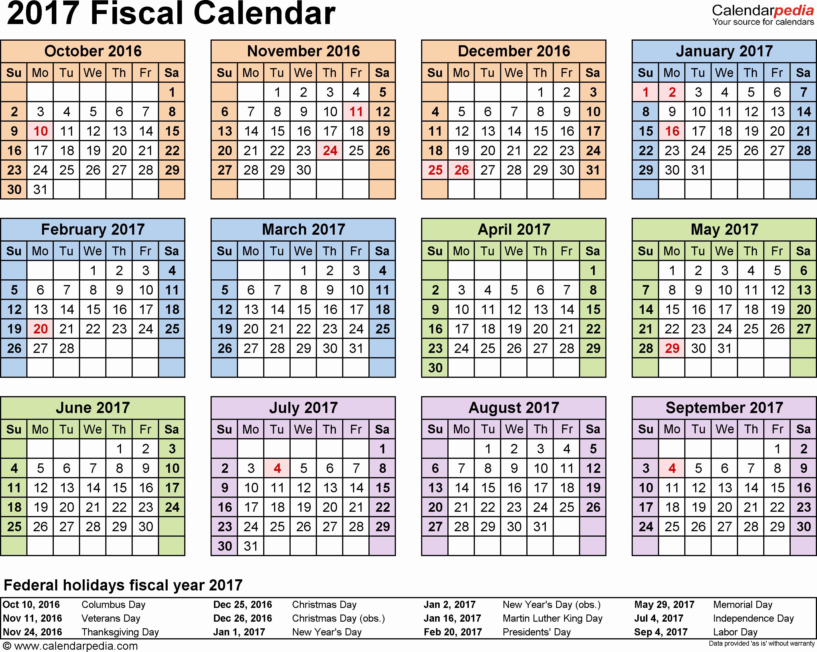 Calendar 2016-17 Template Fresh Fiscal Calendars 2017 as Free Printable Excel Templates