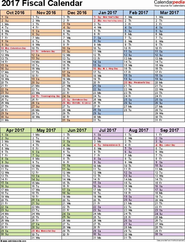 Calendar 2016-17 Template Fresh Fiscal Calendars 2017 as Free Printable Pdf Templates