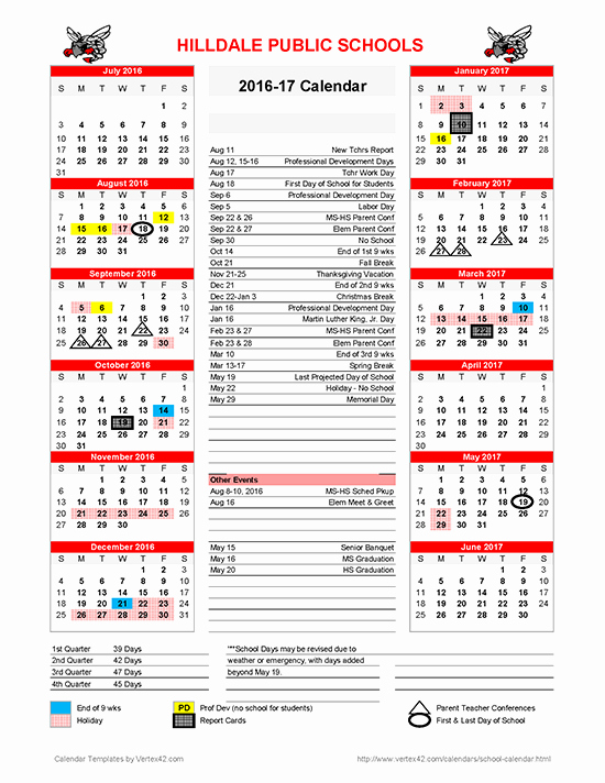 Calendar 2016-17 Template Fresh Hilldale Public Schools 2016 2017 School Calendar Available