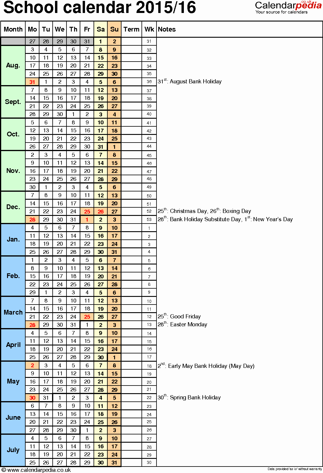 Calendar 2016-17 Template Fresh School Calendars 2015 2016 as Free Printable Word Templates