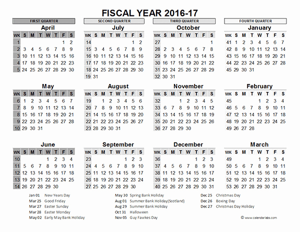 Calendar 2016-17 Template Inspirational 2016 Fiscal Year Calendar Uk 02 Free Printable Templates