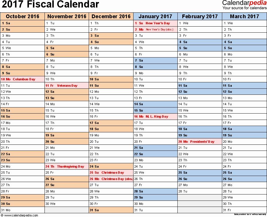 Calendar 2016-17 Template Inspirational Fiscal Calendars 2017 as Free Printable Word Templates