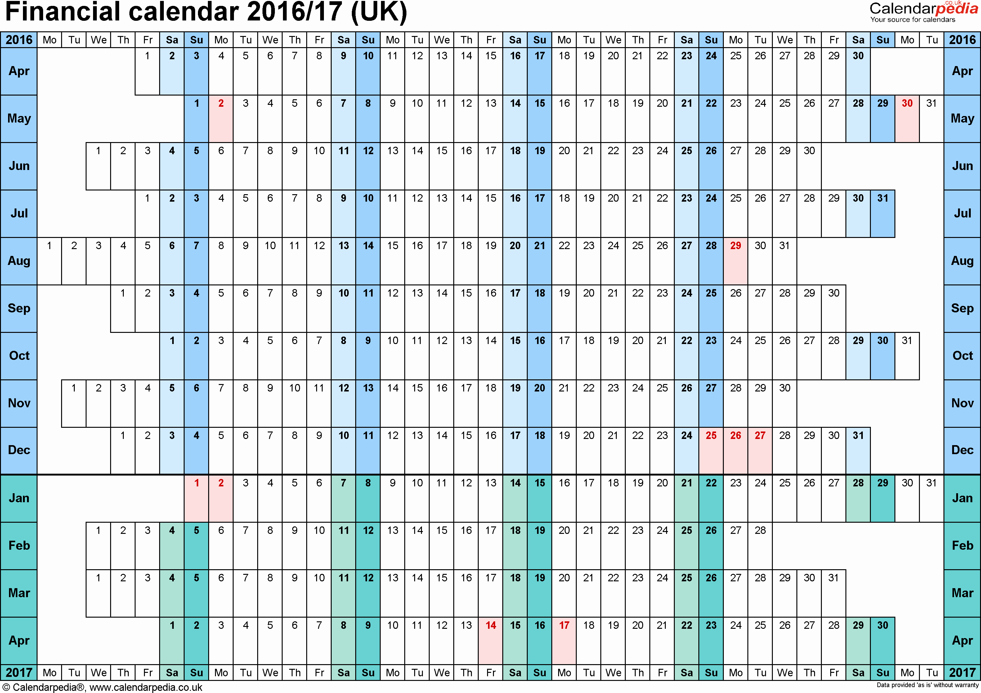 Calendar 2016-17 Template Lovely Financial Calendars 2016 17 Uk In Microsoft Excel format