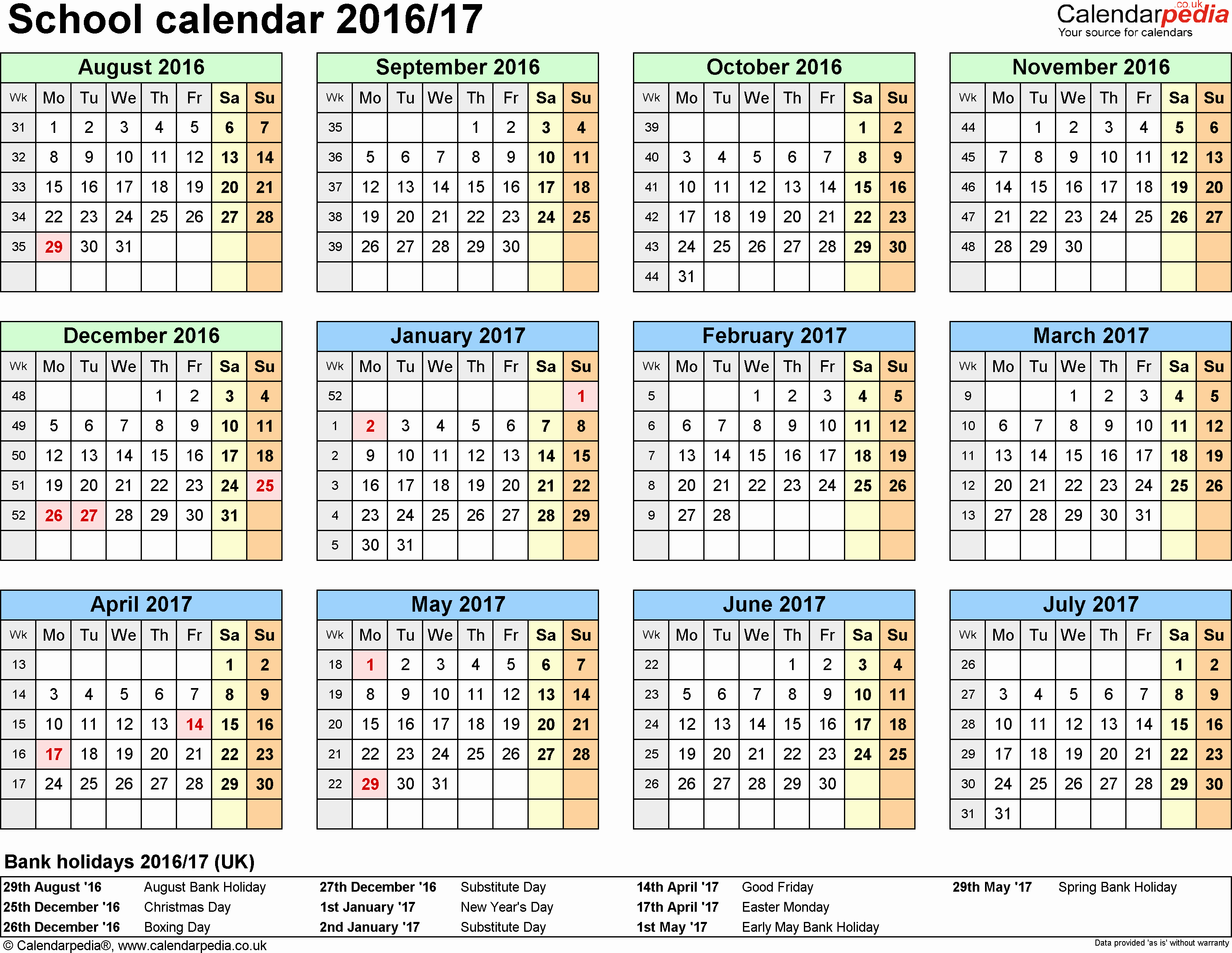Calendar 2016-17 Template Lovely School Calendars 2016 2017 as Free Printable Word Templates
