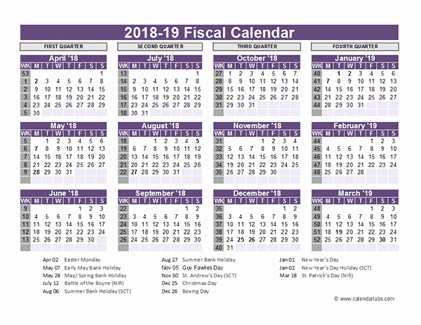 Calendar 2016-17 Template Lovely Uk Fiscal Calendar Template 2018 19 Free Printable Templates