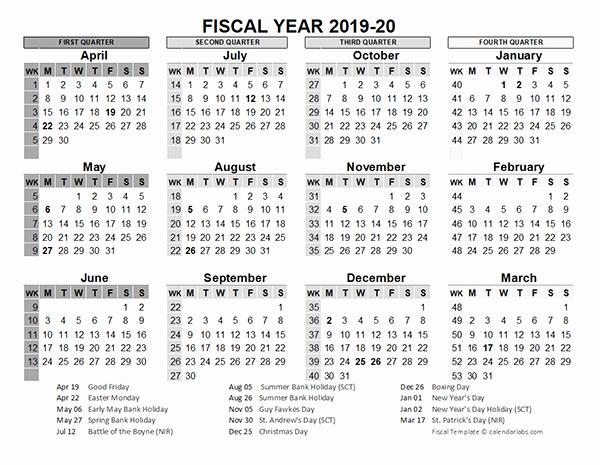 Calendar 2016-17 Template Luxury 2019 2020 Fiscal Calendar Uk Template Free Printable