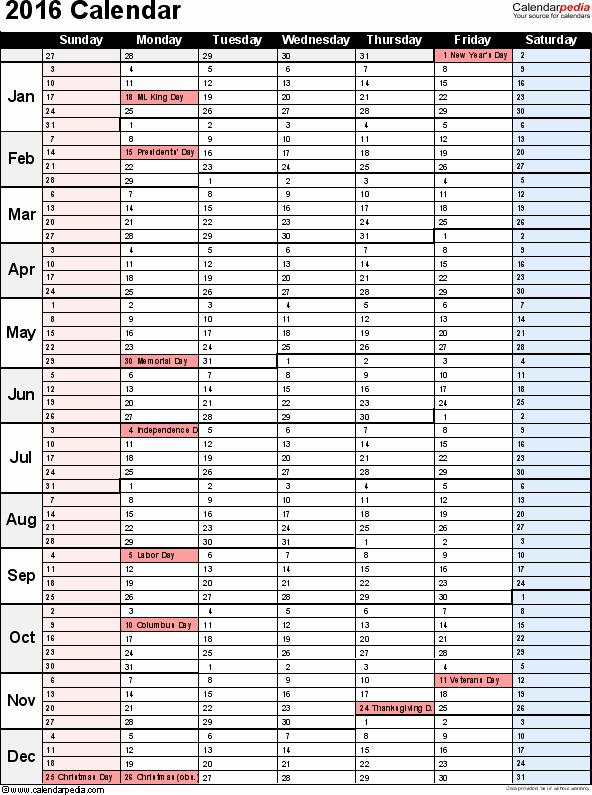 Calendar 2016-17 Template New 2016 Calendar Download 16 Free Printable Excel Templates