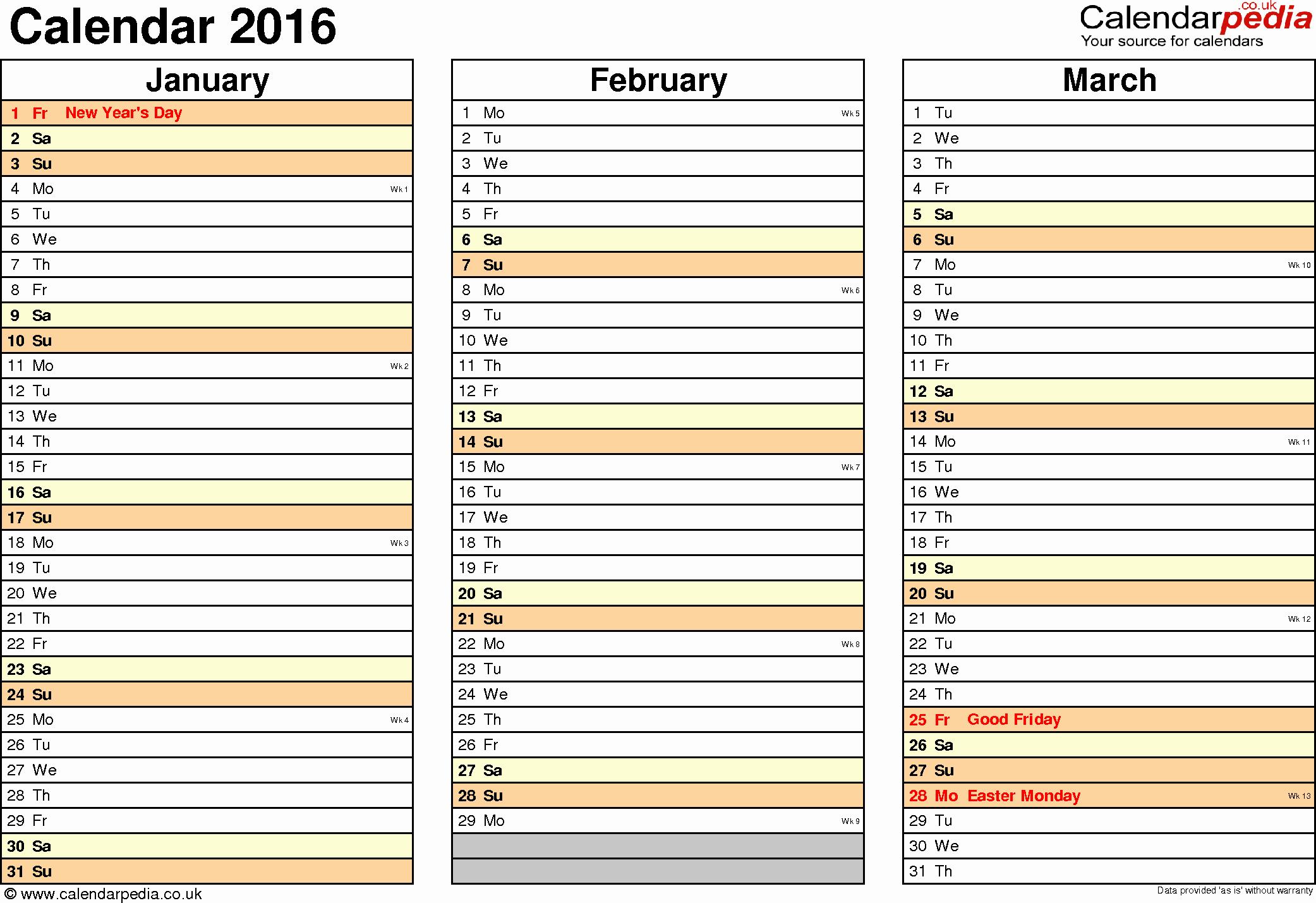 Calendar 2016-17 Template New Calendar 2016 Uk 16 Free Printable Pdf Templates