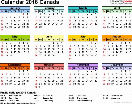 Calendar 2016-17 Template New Canada Calendar 2016 Free Printable Pdf Templates