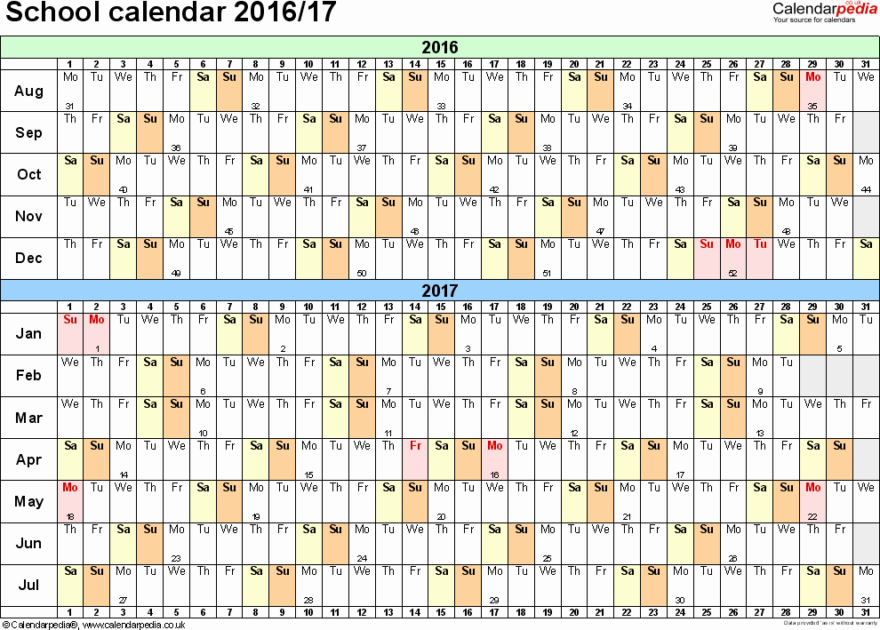 Calendar 2016-17 Template New School Calendars 2016 2017 as Free Printable Word Templates
