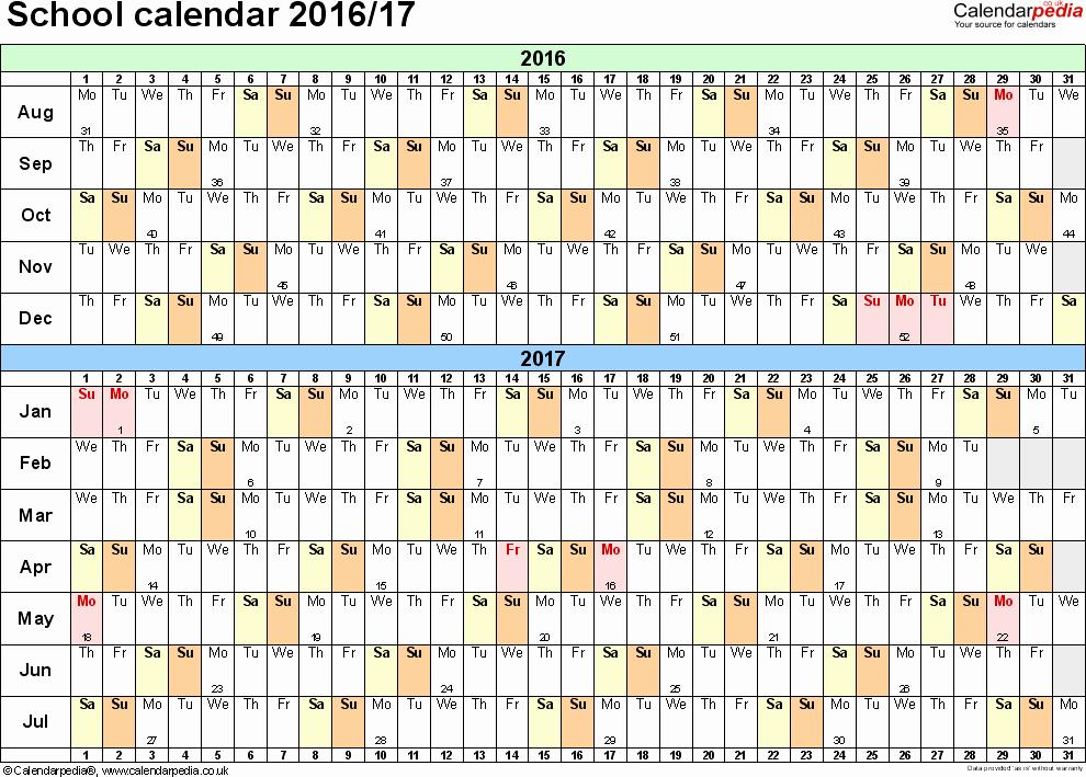 Calendar 2016-17 Template New School Calendars 2016 2017 as Free Printable Word Templates