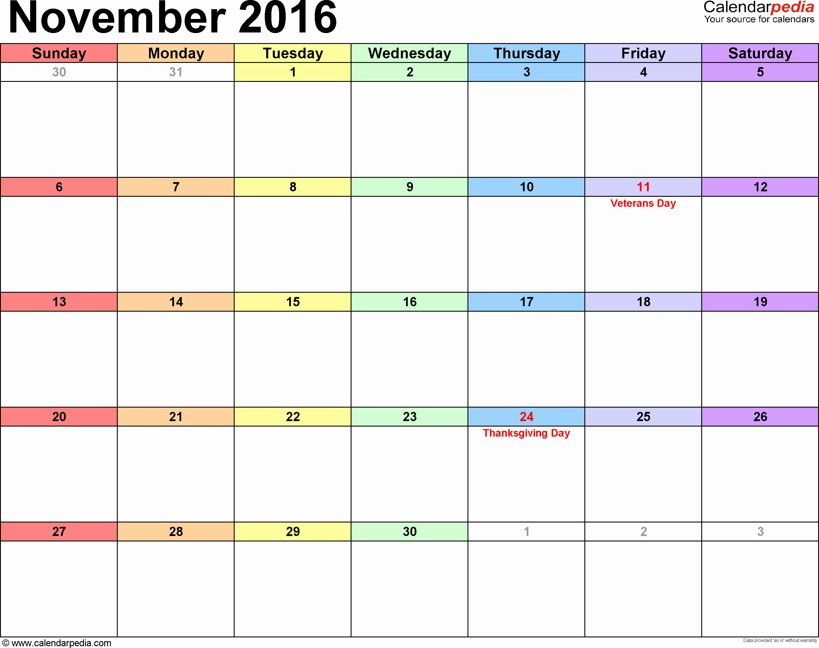 Calendar 2016-17 Template Unique November 2016 Calendars for Word Excel & Pdf