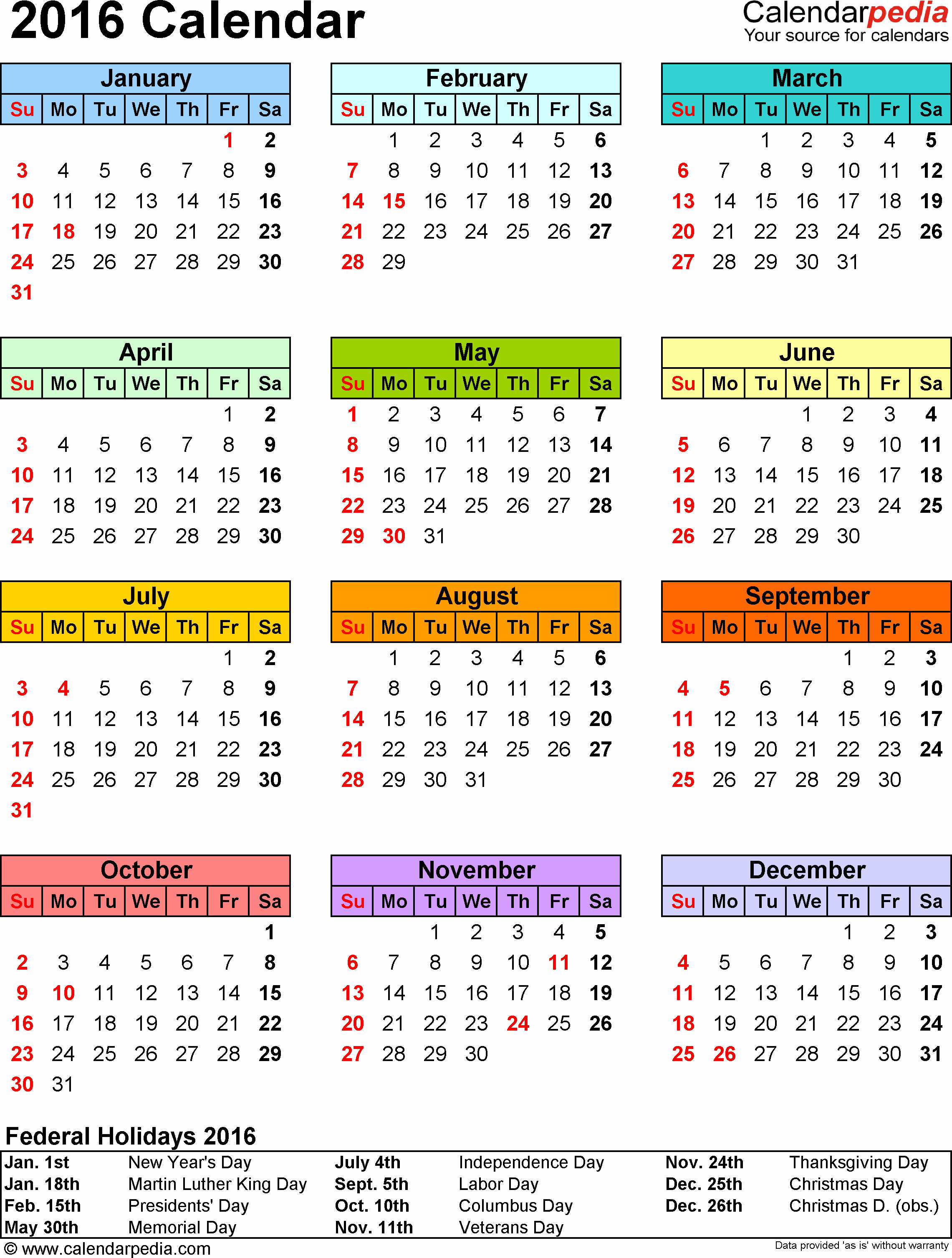Calendar 2016 Printable with Holidays Awesome 2016 Calendar with Federal Holidays & Excel Pdf Word Templates