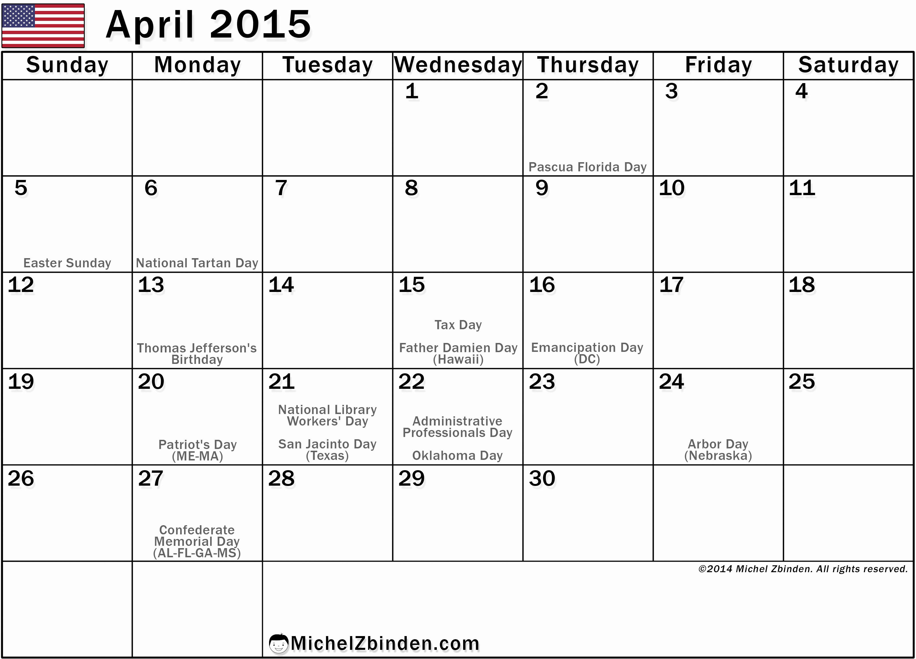 Calendar 2016 Printable with Holidays Awesome Best S April 2015 Calendar with Holidays Printable