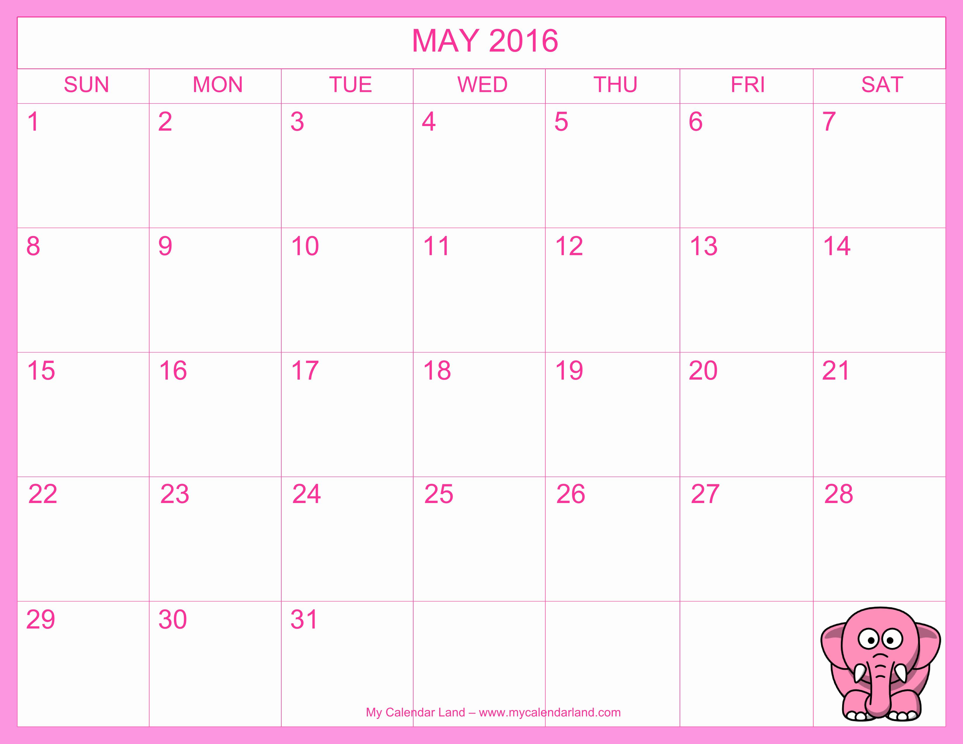 Calendar 2016 Printable with Holidays Awesome Printable Monthly 2016 Calendar with Holidays