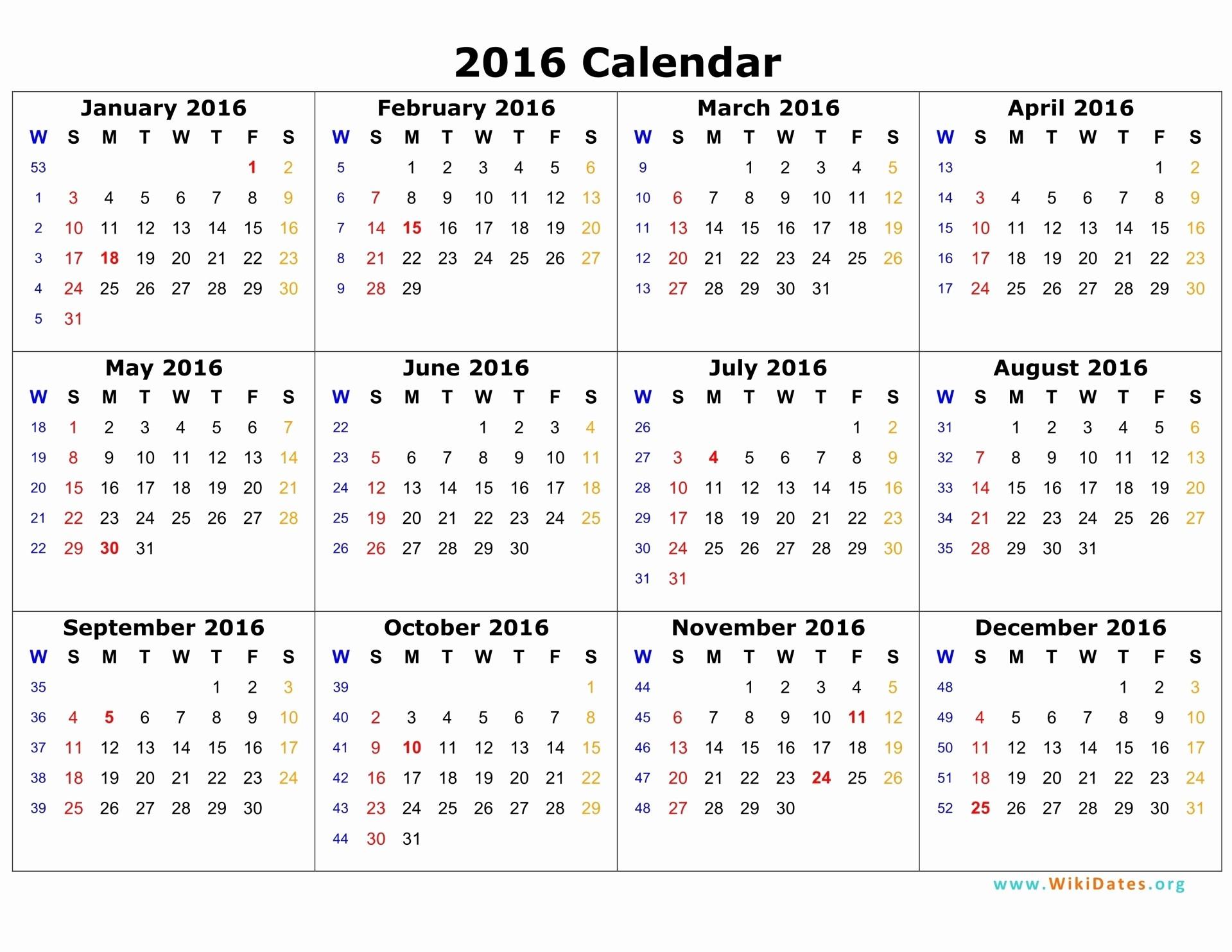 Calendar 2016 Printable with Holidays Beautiful 2016 Calendar