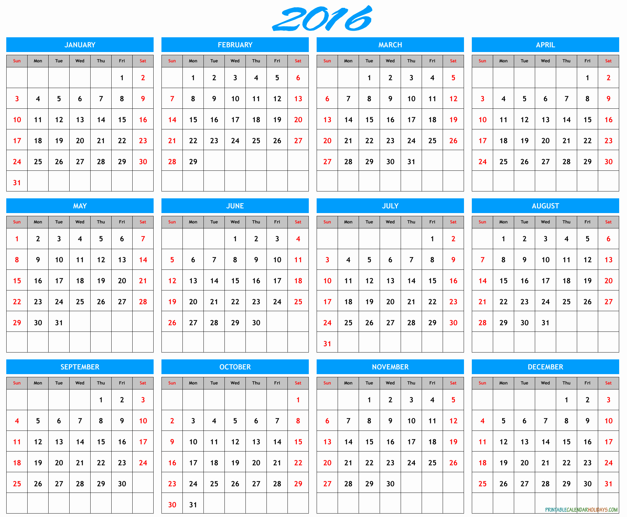 Calendar 2016 Printable with Holidays Beautiful 2016 Yearly Calendar Template In Landscape format