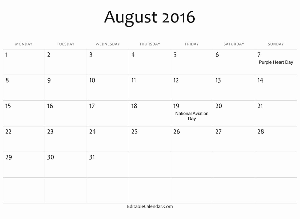 Calendar 2016 Printable with Holidays Beautiful Free August 2016 Calendar Printable Template