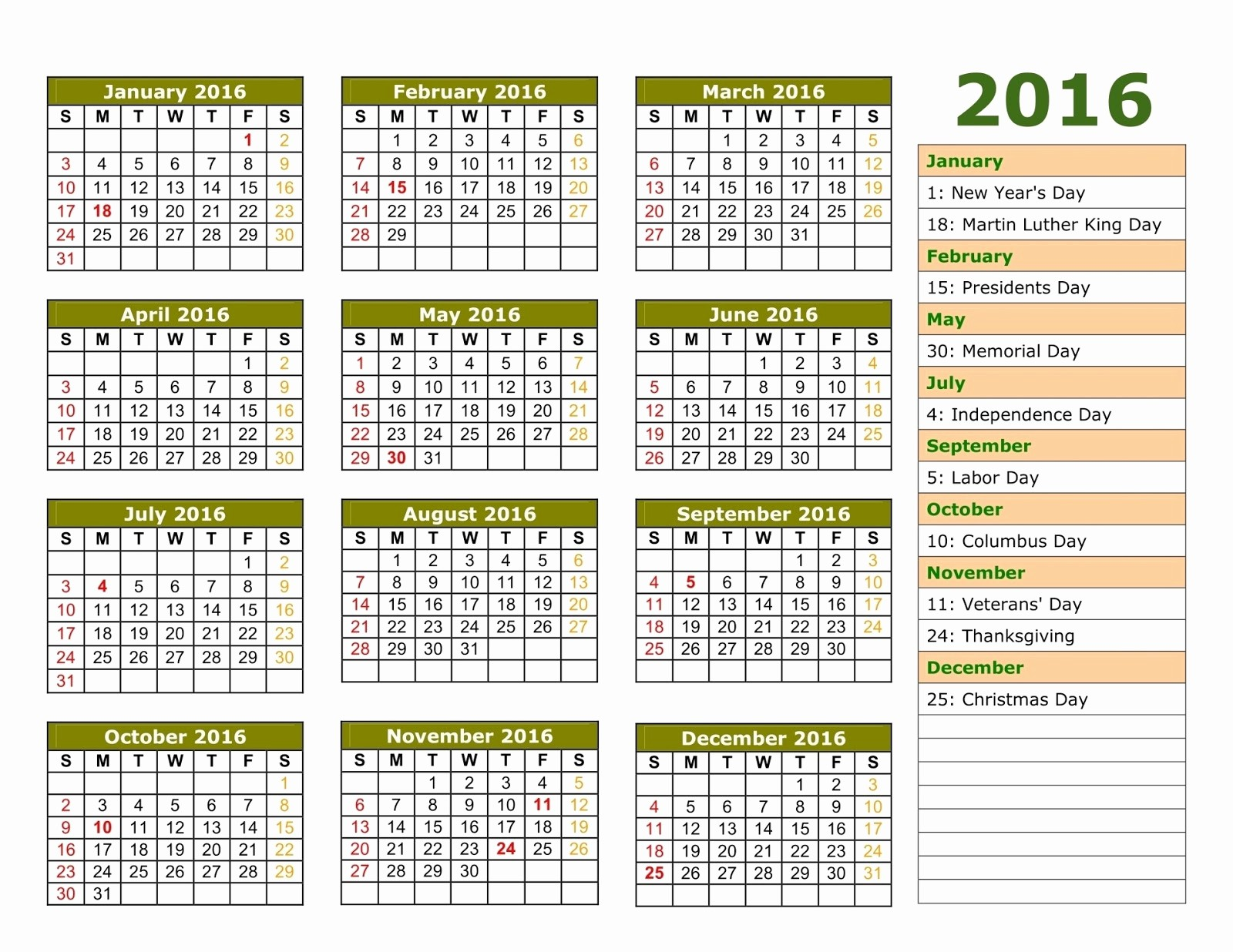 Calendar 2016 Printable with Holidays Best Of Printable 2016 Calendar with Us Holidays Pdf Excel