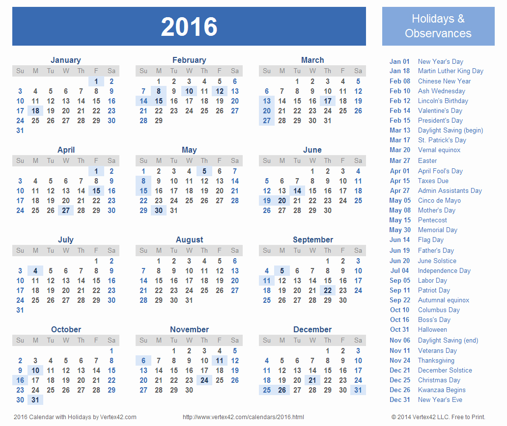 Calendar 2016 Printable with Holidays Elegant 2016 Calendar Templates and