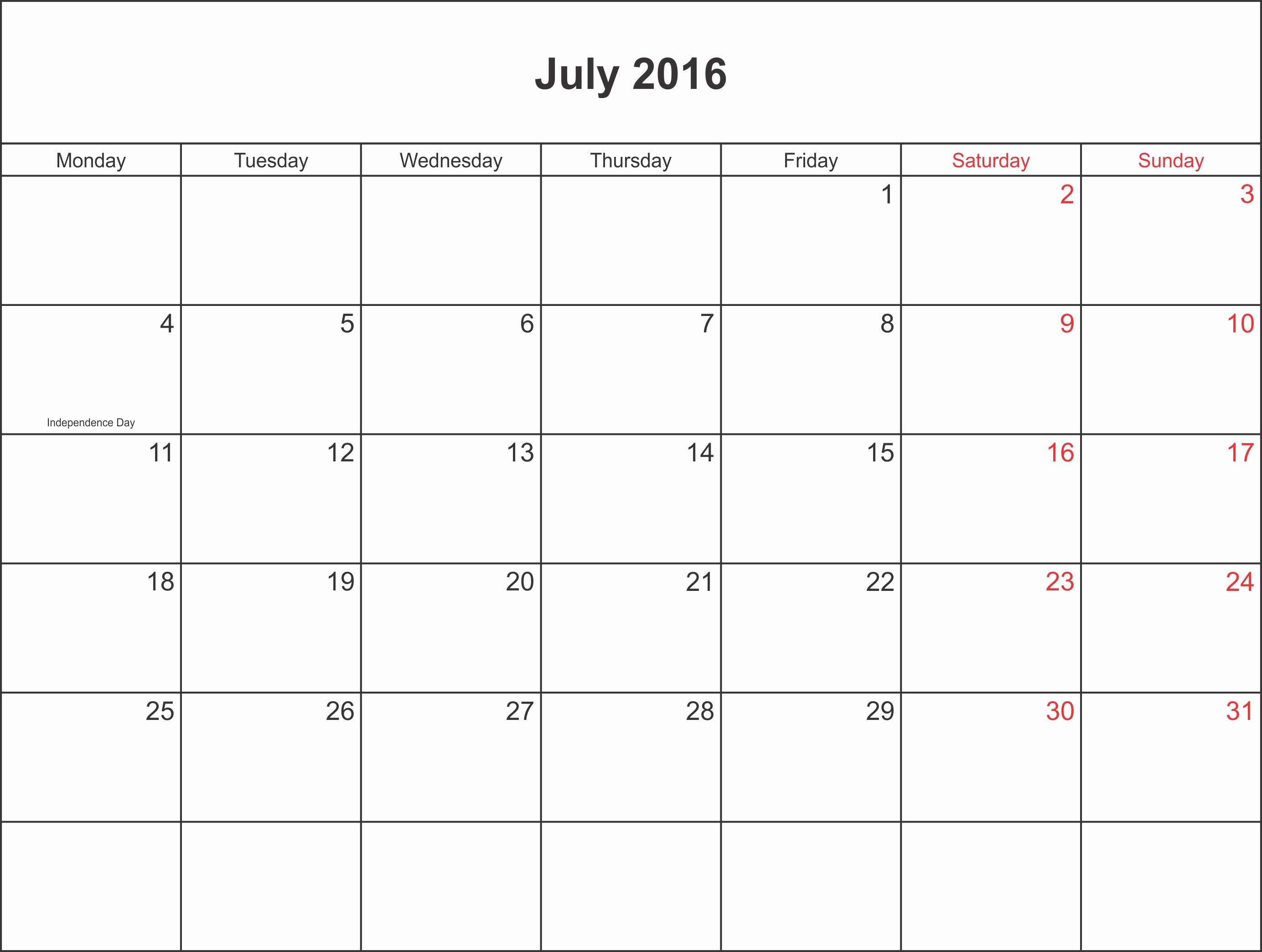 Calendar 2016 Printable with Holidays Elegant July 2016 Calendar Printable with Holidays Pdf and Jpg