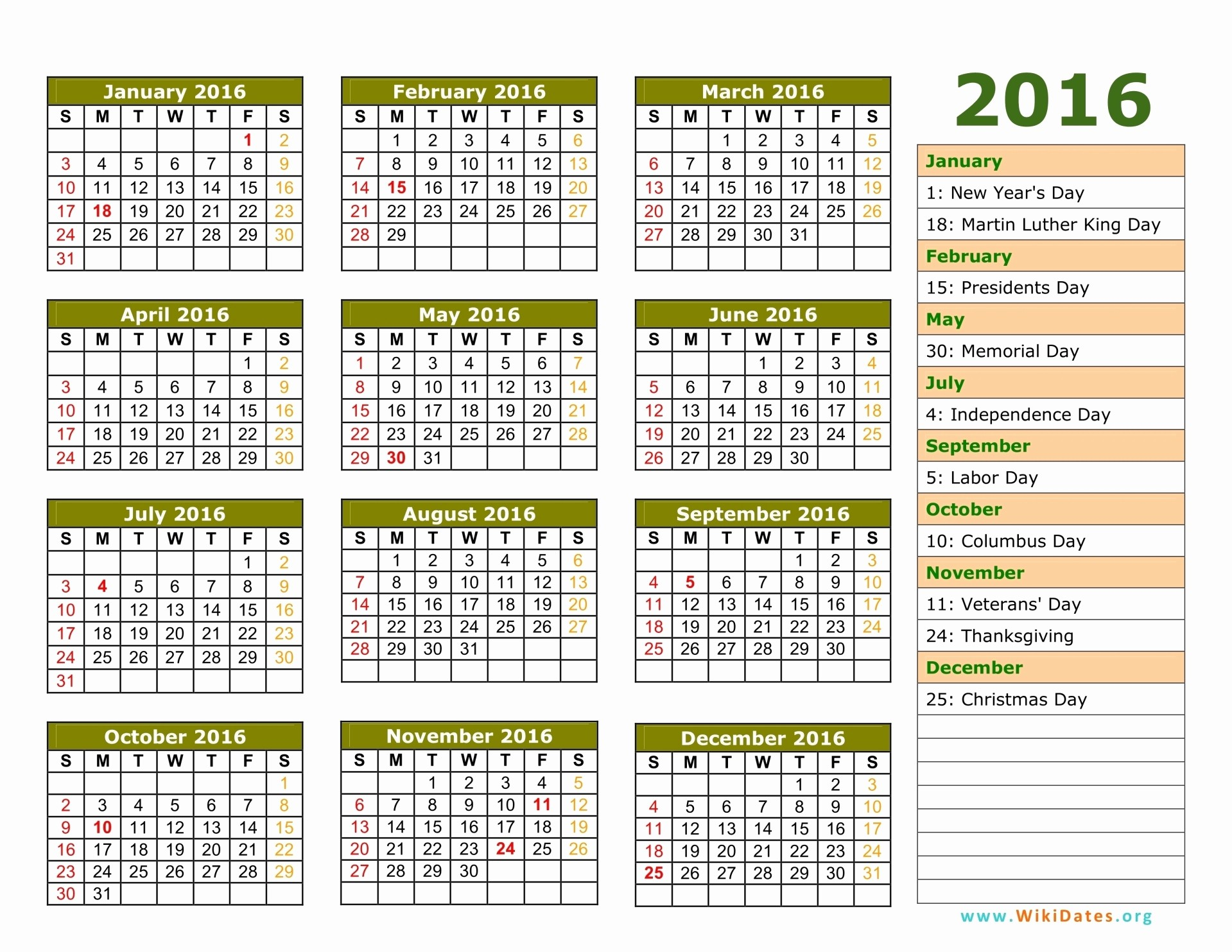 Calendar 2016 Printable with Holidays Fresh 2016 Calendar