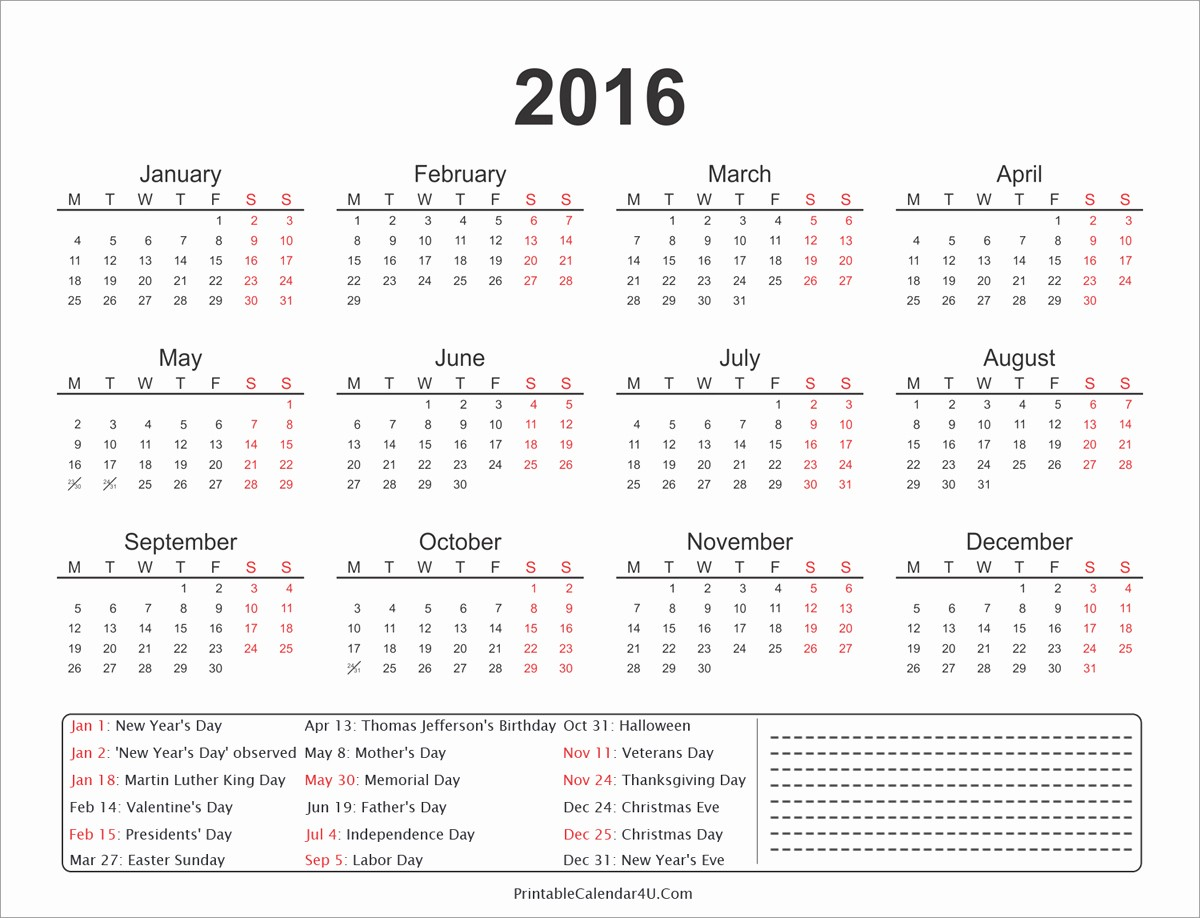 Calendar 2016 Printable with Holidays Fresh 2016 Year Calendar to Pin On Pinterest Pinsdaddy