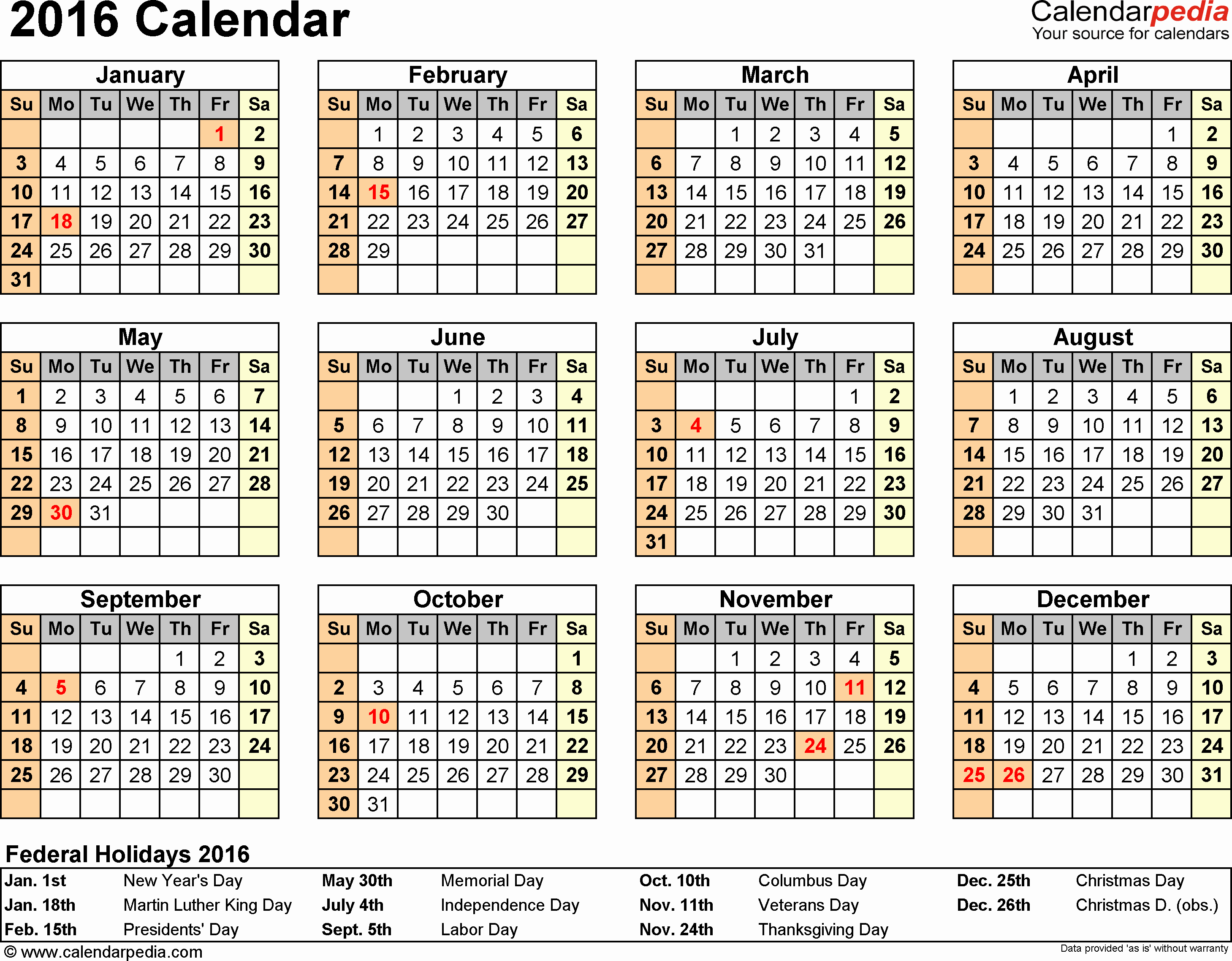 Calendar 2016 Printable with Holidays Inspirational 2016 Calendar Download 16 Free Printable Excel Templates