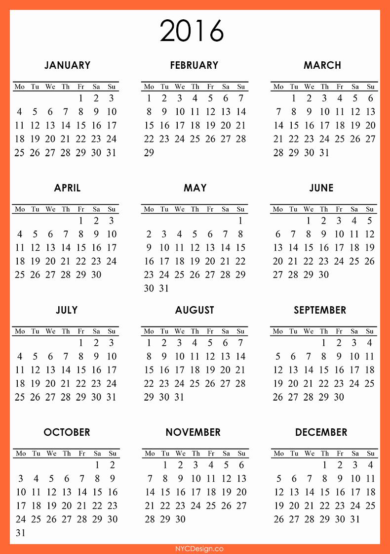 Calendar 2016 Printable with Holidays Inspirational 2016 Calendar Free