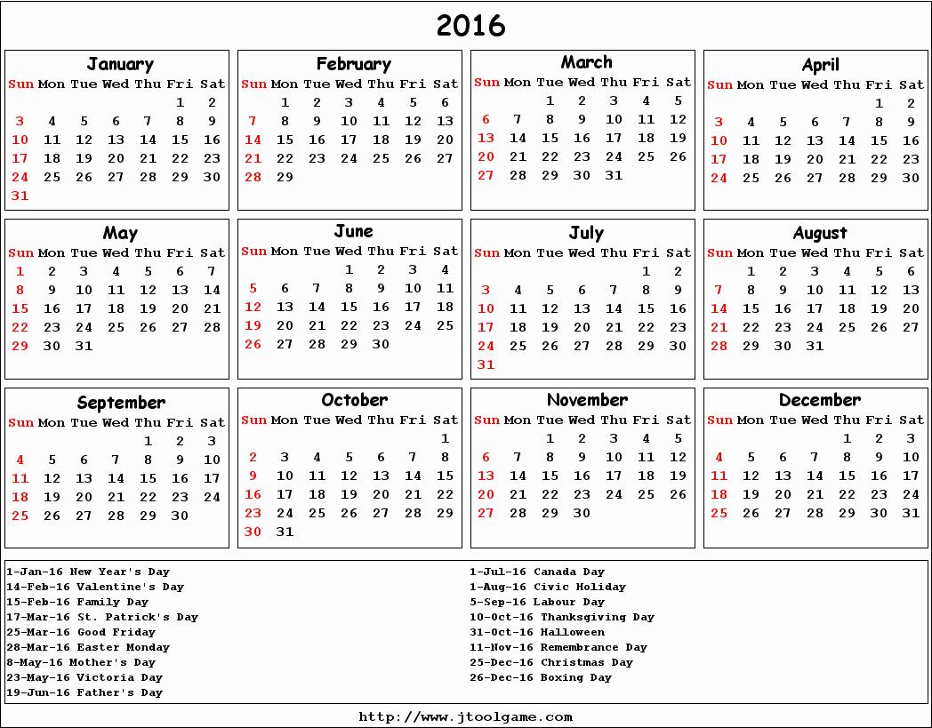 Calendar 2016 Printable with Holidays Inspirational Calendar with Holidays 2016