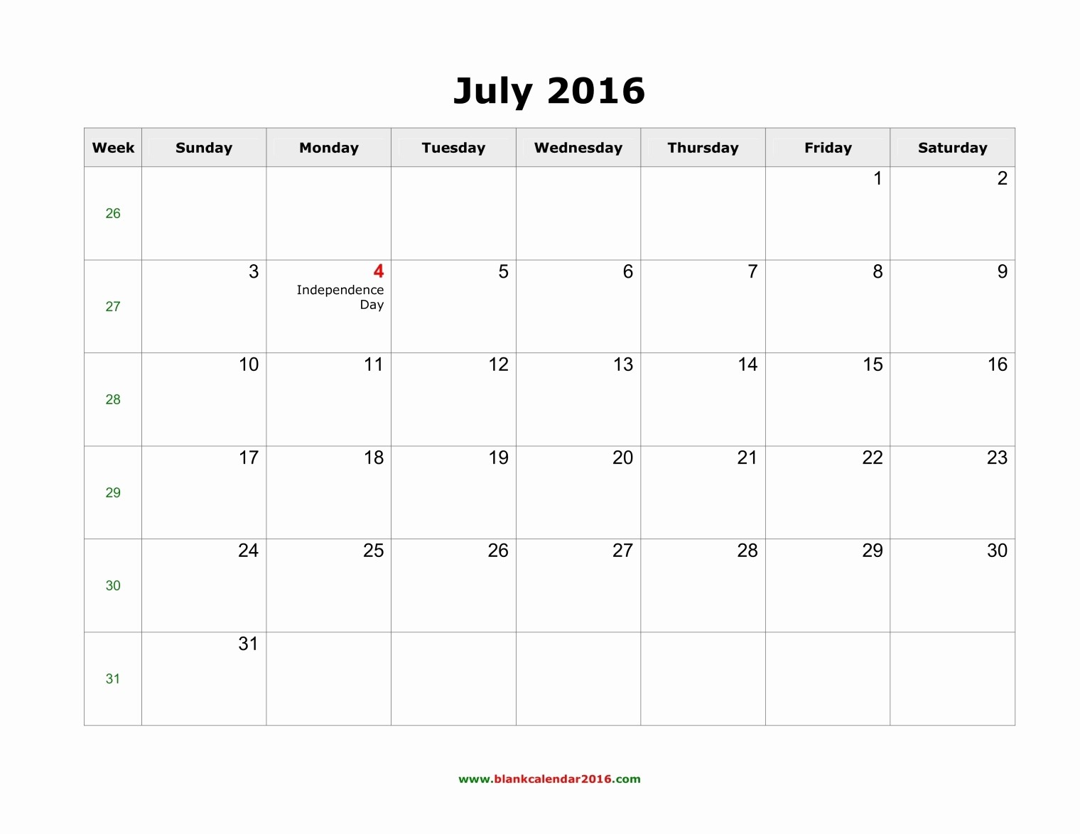 Calendar 2016 Printable with Holidays Inspirational July 2016 Calendar Holidays – 2017 Printable Calendar