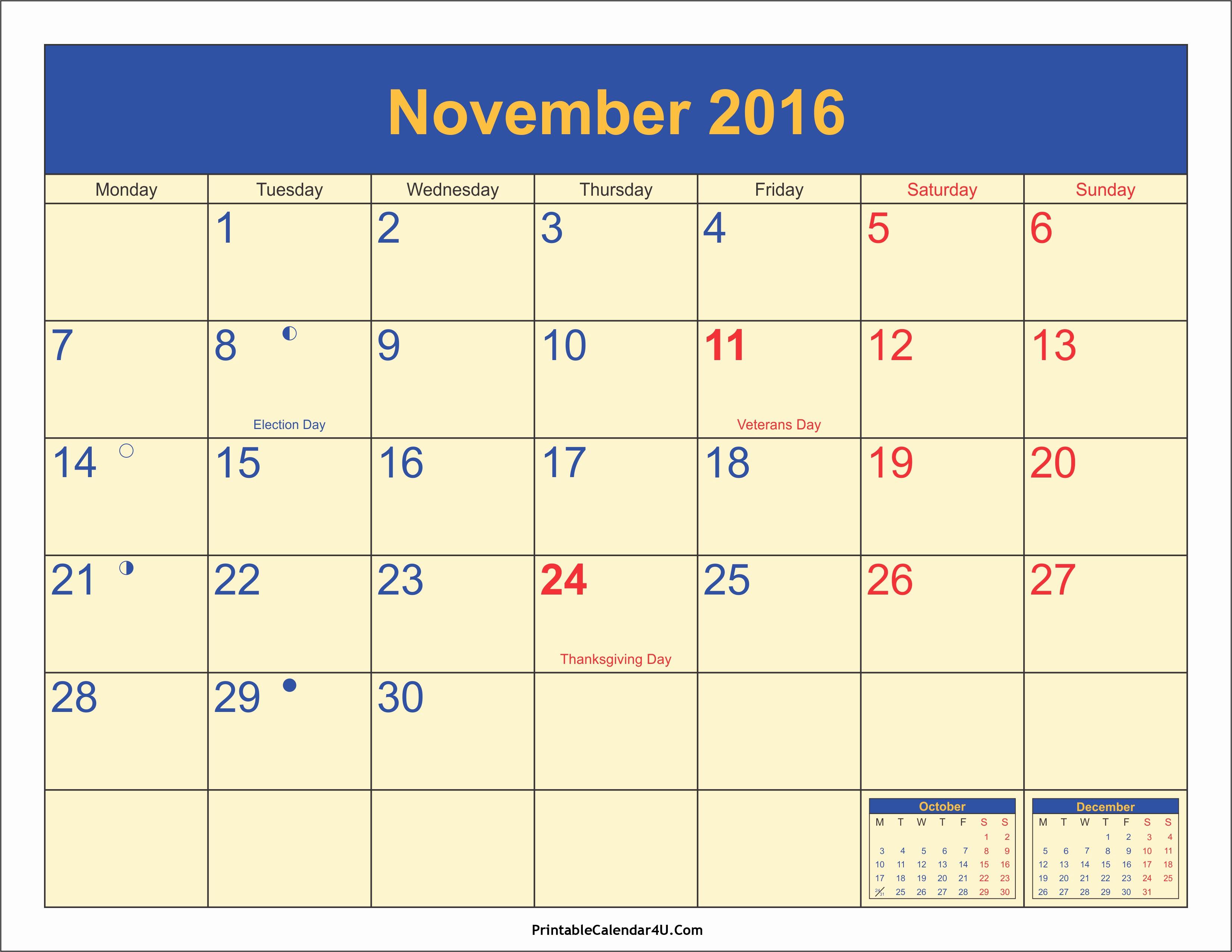Calendar 2016 Printable with Holidays Inspirational November 2016 Calendar Printable with Holidays Pdf and Jpg