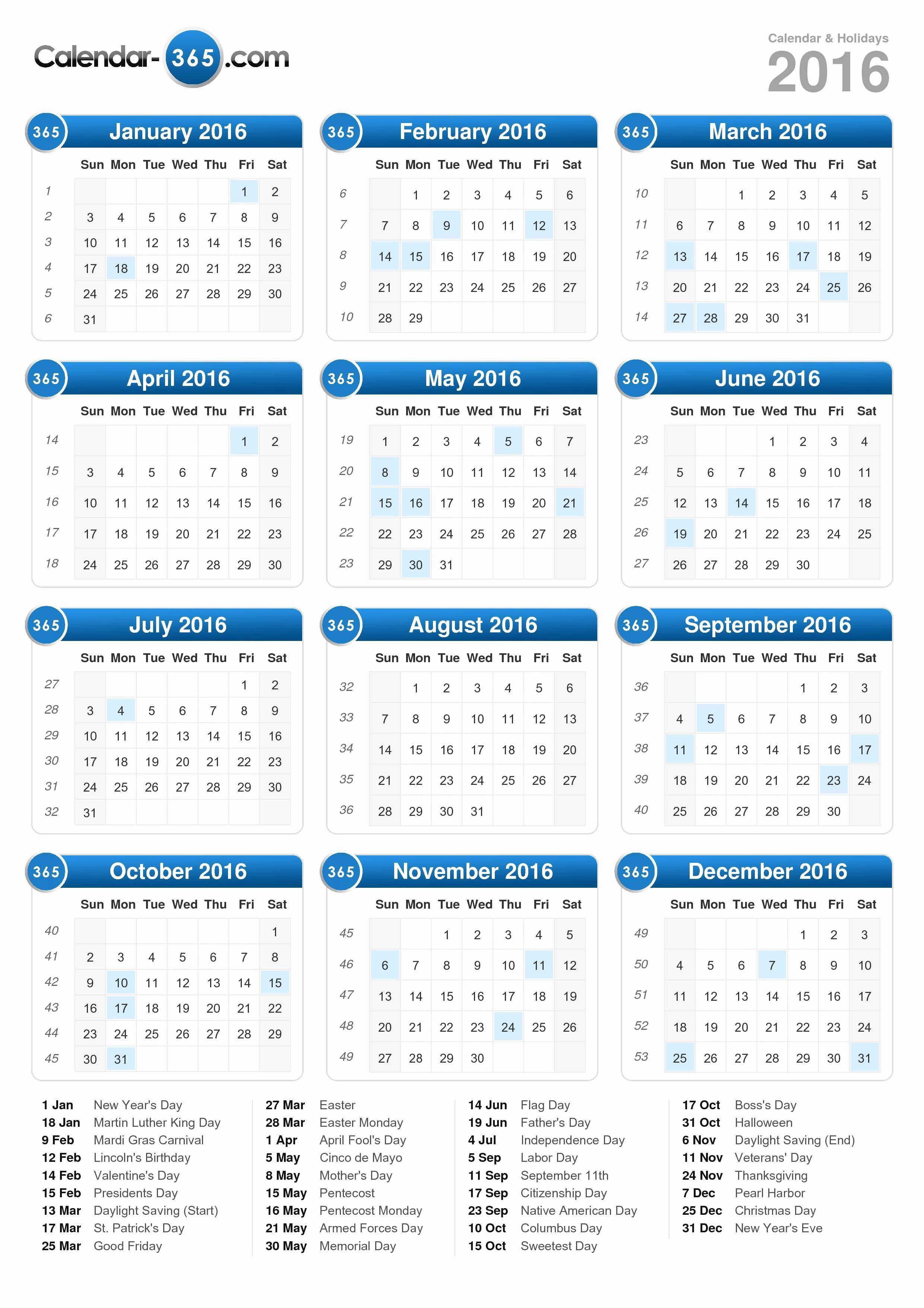Calendar 2016 Printable with Holidays Lovely 2016 Calendar