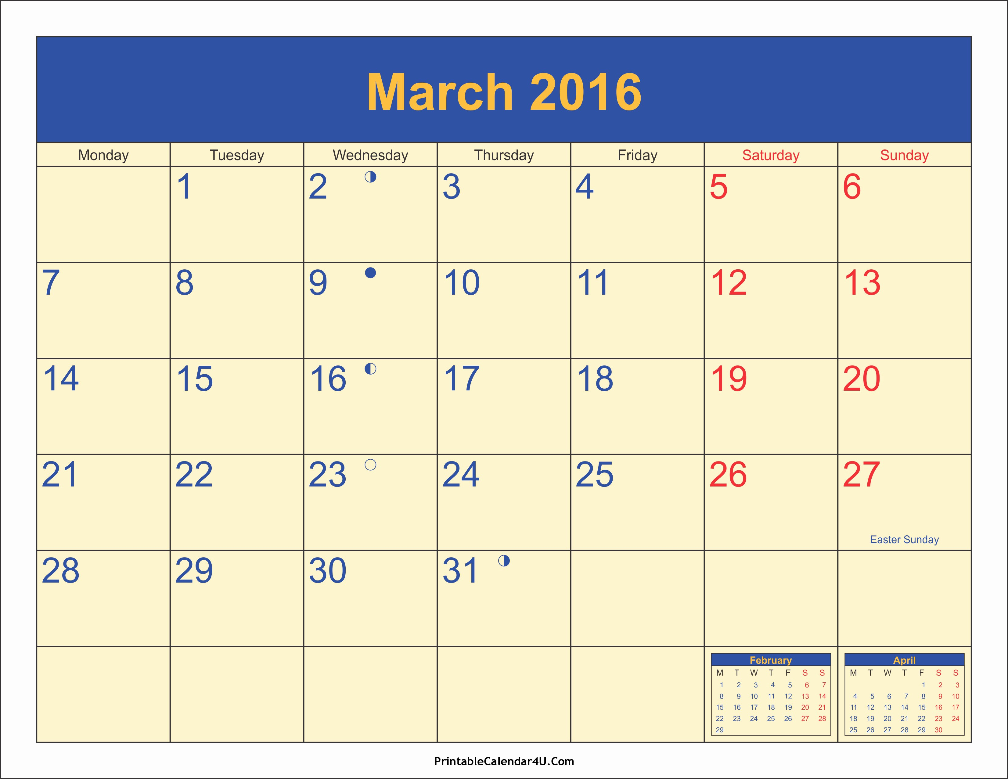 Calendar 2016 Printable with Holidays Lovely March 2016 Calendar Printable Calendar 2016 2017