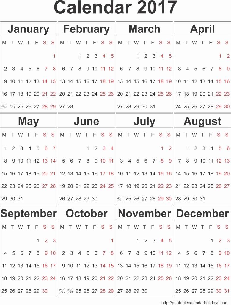 Calendar 2016 Printable with Holidays Lovely Printable Calendar for 2017 Archives Free Printable