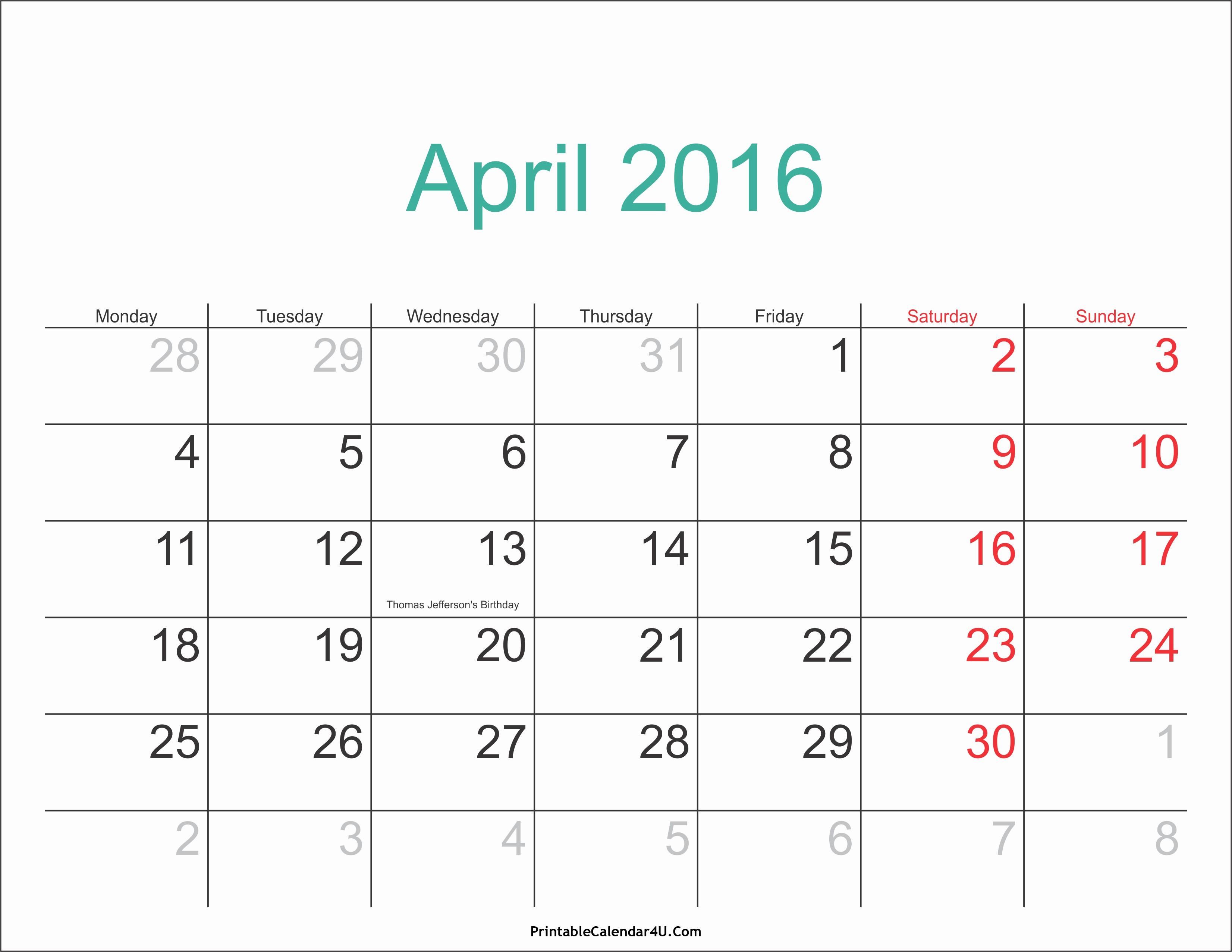 Calendar 2016 Printable with Holidays Luxury April 2016 Calendar Printable with Holidays Pdf and Jpg
