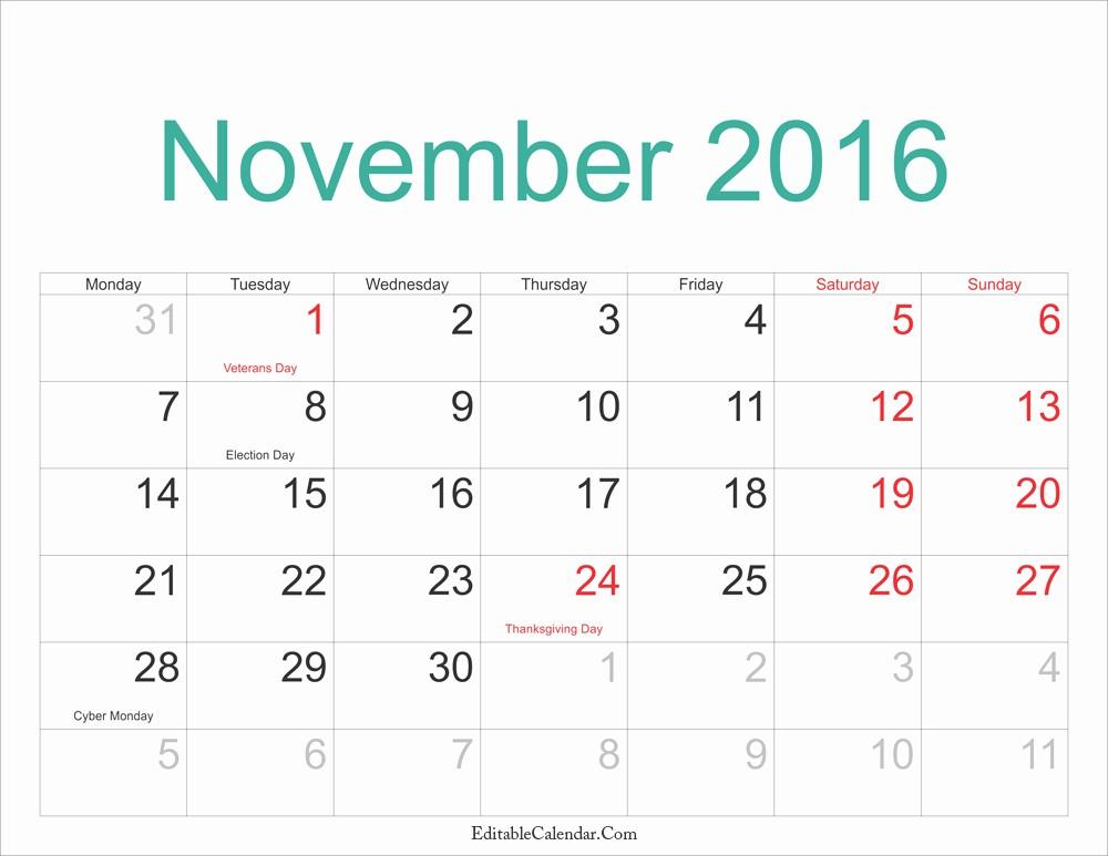Calendar 2016 Printable with Holidays Luxury November Calendar with Holidays Calendar Template 2018