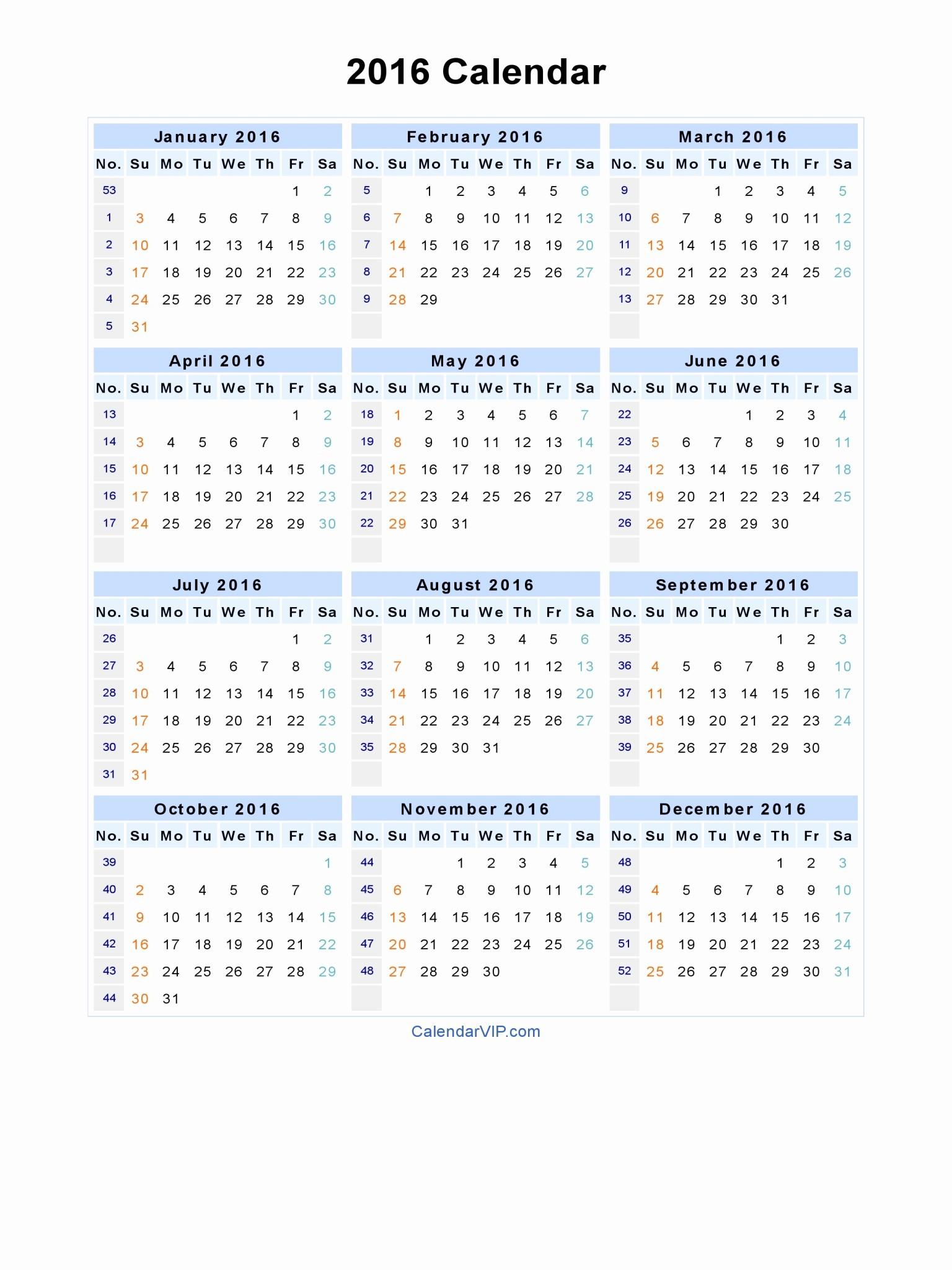 Calendar 2016 Printable with Holidays New 2016 Calendar Blank Printable Calendar Template In Pdf