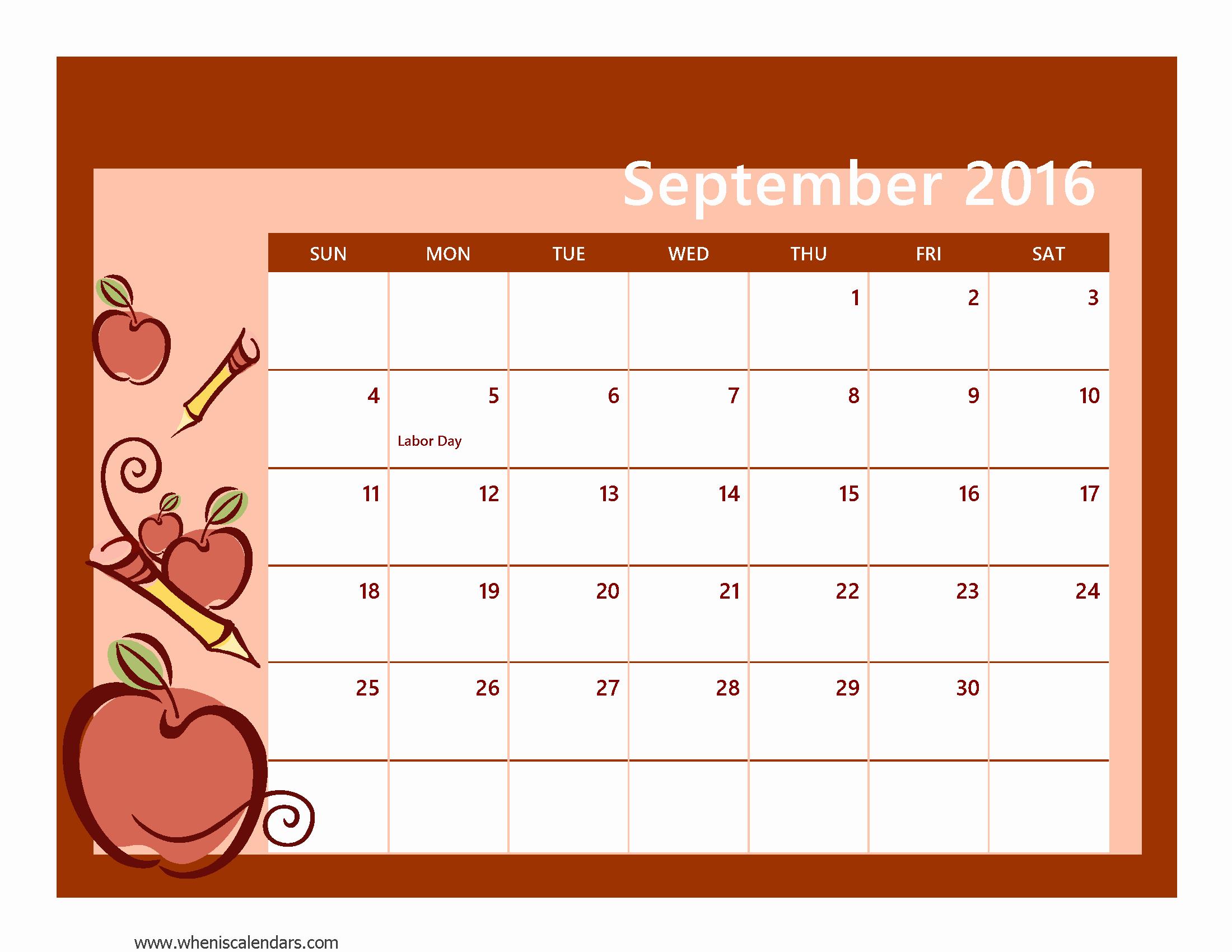 Calendar 2016 Printable with Holidays New September 2016 Calendar Printable Pdf