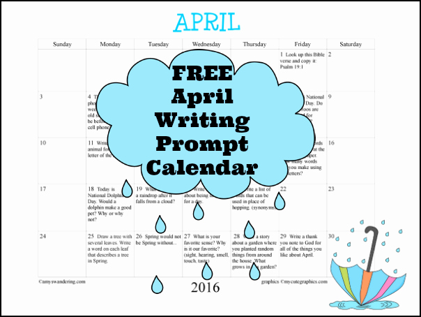 Calendar 2016 to Write On Awesome April Writing Prompt Calendar